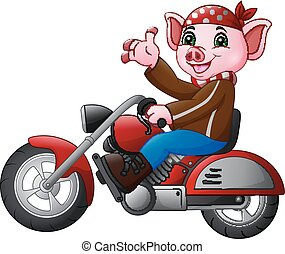Un gracioso cerdo con una motocicleta