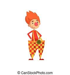 Un gracioso payaso encantador vector de personaje de dibujos animados Ilustración en un fondo blanco
