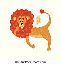 Un gracioso personaje de dibujos animados de leones con alas vector de ilustración en un fondo blanco