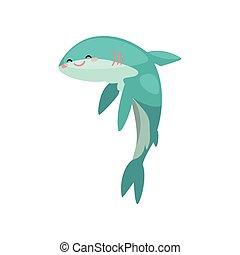 Un gracioso tiburón dibujante de dibujos animados vector de ilustración en un fondo blanco