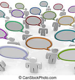 Un gran grupo de gente hablando, burbujas de habla