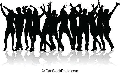 Un gran grupo de jóvenes bailando