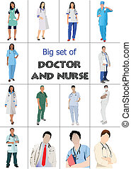 Un gran grupo de médicos y enfermeras