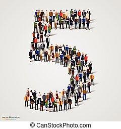 Un gran grupo de personas en el número 5