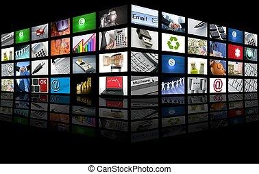 Un gran panel del negocio de Internet