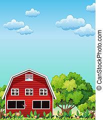Un granero rojo cerca de los árboles