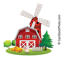 Un granero rojo en la granja