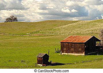 Un granero solitario y tirado en una colina de California