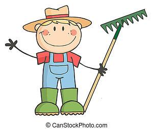 Un granjero caucásico