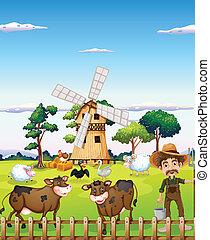 Un granjero con animales de granja