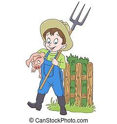 Un granjero con un cerdo