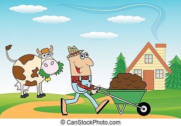 Un granjero empujando un carro