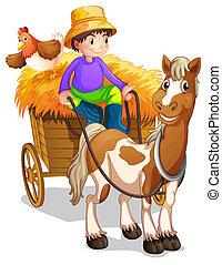 Un granjero en su carrito de madera con un caballo y un pollo