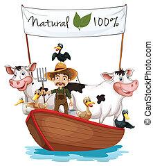 Un granjero en un barco con sus animales