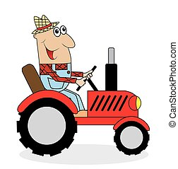 Un granjero macho monta un tractor