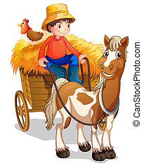 Un granjero montando un carro con un pollo en la espalda