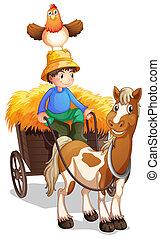 Un granjero montando un carro con un pollo sobre su cabeza