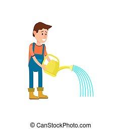 Un granjero regando ícono vectorial masculino