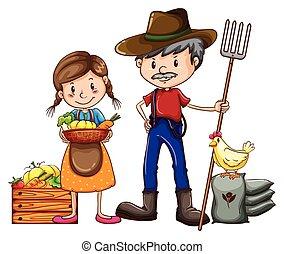 Un granjero y un vendedor