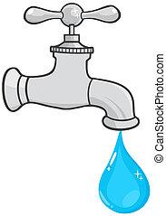 Un grifo de agua con gota de agua