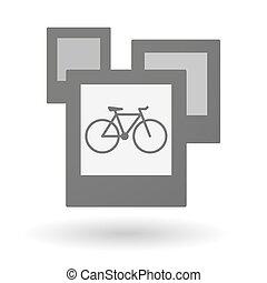 Un grupo aislado de fotos con una bicicleta
