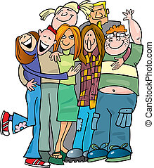 Un grupo de adolescentes dando un abrazo
