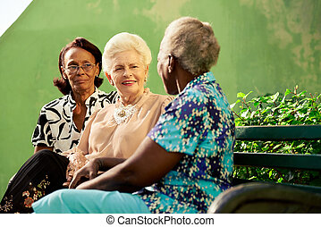 Un grupo de ancianas negras y caucásicas hablando en el parque