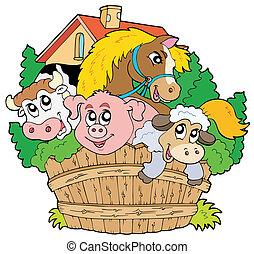 Un grupo de animales de granja