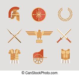 Un grupo de antiguos accesorios guerreros