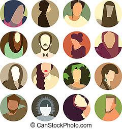 Un grupo de avatar enfrenta iconos