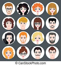 Un grupo de avatares con estilo de chicas y chicos en diseño moderno