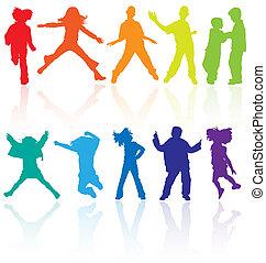 Un grupo de bailes de colores, saltos y posando adolescentes vector siluetas con reflexión.