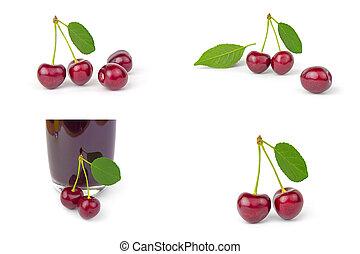 Un grupo de Cherry sobre un fondo blanco