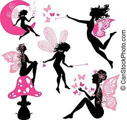 Un grupo de chicas de silueta con mariposas y estrellas aisladas