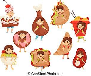 Un grupo de chicos con trajes de comida rápida. Divertidos niños y niñas. Personajes de niños de dibujos animados