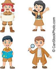 Un grupo de chicos felices de dibujos animados usando disfraces de exploradores