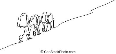 Un grupo de dibujo continuo de cuatro personas caminando