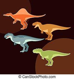 Un grupo de dinosaurios carnívoros