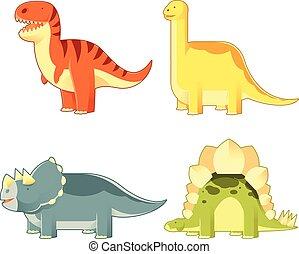 Un grupo de dinosaurios coloridos