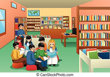Un grupo de escolares estudiando en la ilustración de la biblioteca