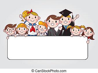 Un grupo de estudiantes alegres sosteniendo un anuncio