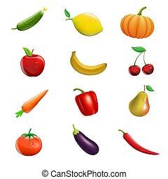 Un grupo de frutas y vegetales aislados en el fondo blanco