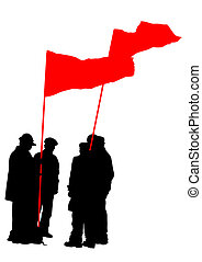 Un grupo de gente con banderas