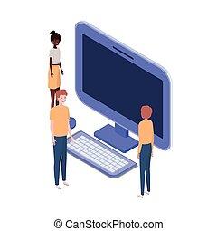 Un grupo de gente con pantalla de ordenador