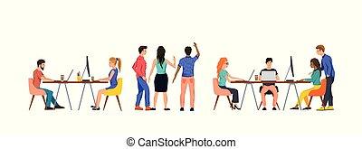 Un grupo de gente en una oficina trabajando en equipo