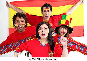 Un grupo de gente muestra su apoyo al equipo de fútbol español
