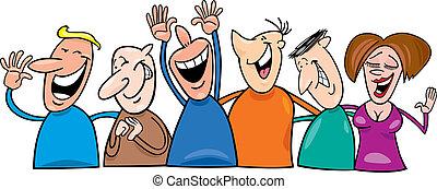 Un grupo de gente riendo