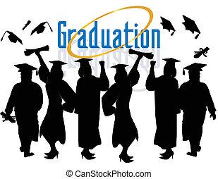 Un grupo de graduados celebrando...