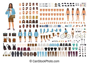 Un grupo de hippies o un kit de animación. Un hombre vestido de moda. Colección de dibujos animados masculinos, partes del cuerpo, emociones, peinados aislados en el fondo blanco. Ilustración de vectores.