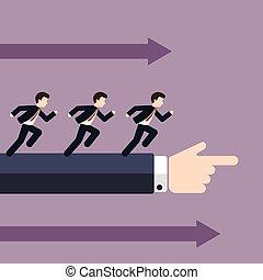 Un grupo de hombres de negocios corriendo en la misma dirección con grandes empresarios señalando, concepto de negocios en liderazgo guiado por seguidores.